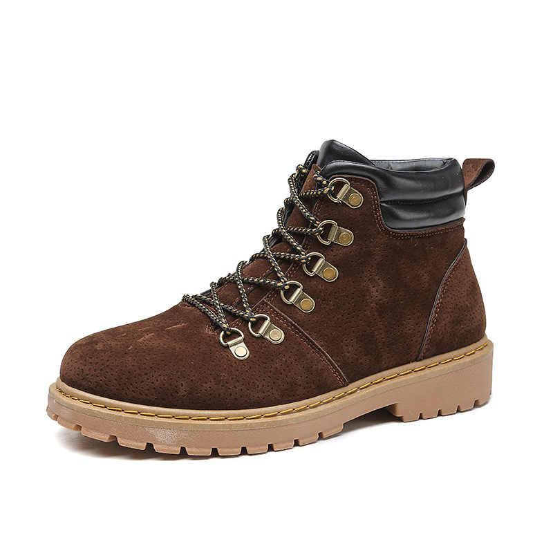 Yüksek kalite hakiki Sonbahar kış Erkek Botları Kış Su Geçirmez yarım çizmeler Martin Çizmeler Açık iş çizmeleri Erkekler Savaş Ayakkabı
