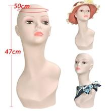 PVC Mannequin Head Female Model Manikin Wig Scarf Glasses Hat Cap Display Stand