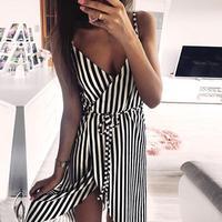Women Stripe Printing Sleeveless Off Shoulder Evening Party Vest Dress Women Summer Printing Off Shoulder Sleeveless