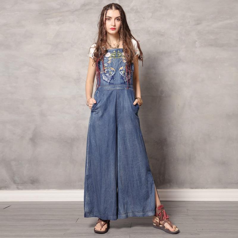 Vintage Jumpsuit Women 2019 Boho New Women Spaghetti Strap Bodysuit Denim Summer Embroidery Wide Leg Jumpsuits
