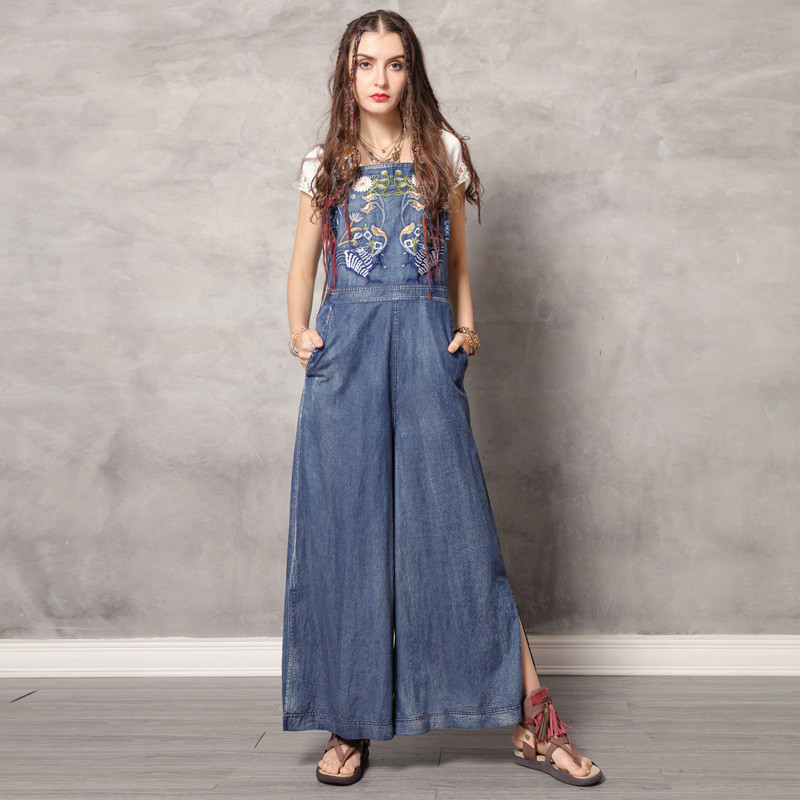 Vintage Jumpsuit Women 2019 Boho New Women Spaghetti Strap Bodysuit Denim Summer Embroidery Wide Leg Jumpsuits K306DZ Bodysuits