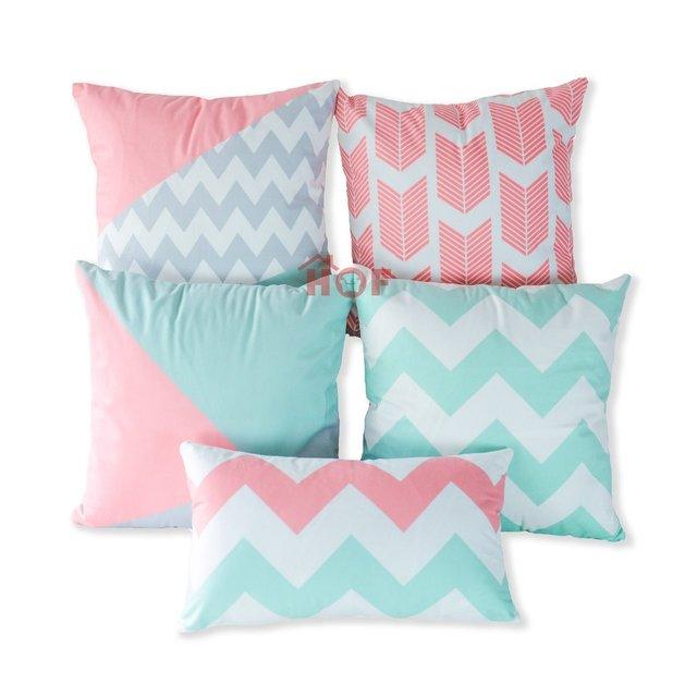 Decorative Throw Pillow Case Outdoor Indoor Geometric Coral Mint Gray Arrow  Chevron Striped Lumbar Sofa Chair