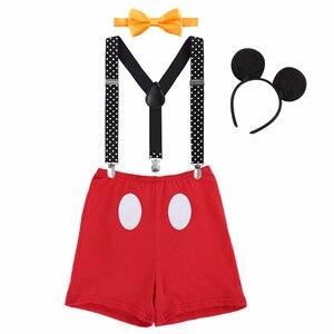 Милый комплект из 4 предметов для маленьких мальчиков, одежда для тортов, фотосессии, детский наряд Микки Мауса на день рождения, реквизит дл...