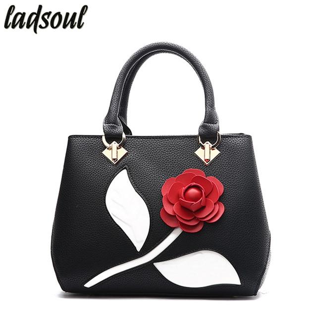 LADSOUL New Women Handbags Women Bag Leather Big Flower Designer Shoulder  Bags Fashion Women Bags Lady Messenger Bags hl8510 g