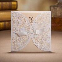 100 Pcs Oco Lace Laser Cut Cartão Do Convite Do Casamento Cartão Com Fita de Impressão Personalizado Fontes Do Partido Do Evento