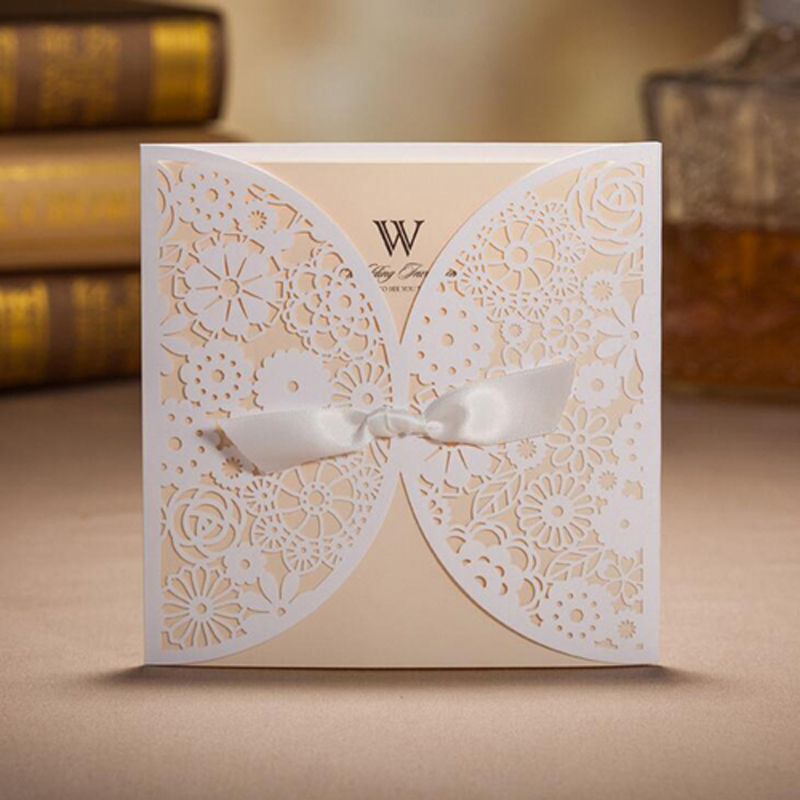 100Pcs Hollow Lace Laser Cut Wedding Invitation Card Greeting Card With Ribbon Personalized Custom Print Event Party Supplies