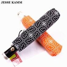Jessekamm бренд полностью автоматическая дождь зонты для мужчин и женщин Красивые модные компактный черный, розовый оранжевый сильный зонтик дамы