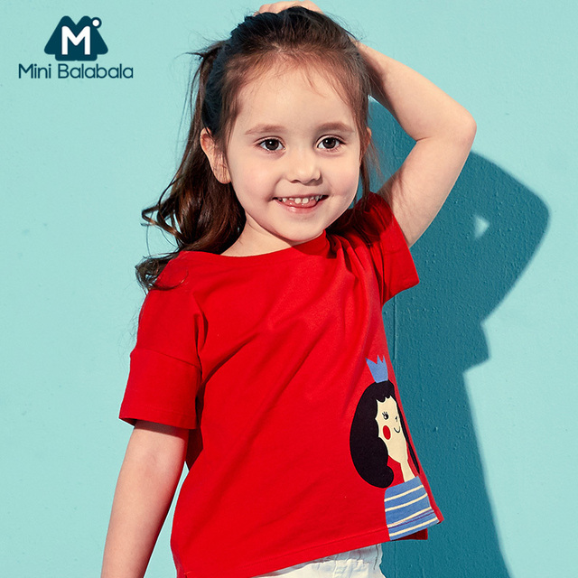 מיני Balabala בנות רך כותנה קצר שרוול חולצה ילדי ילד הקיץ למעלה tees מצולעים צווארון עגול מודפס חולצת טי תינוק בנות