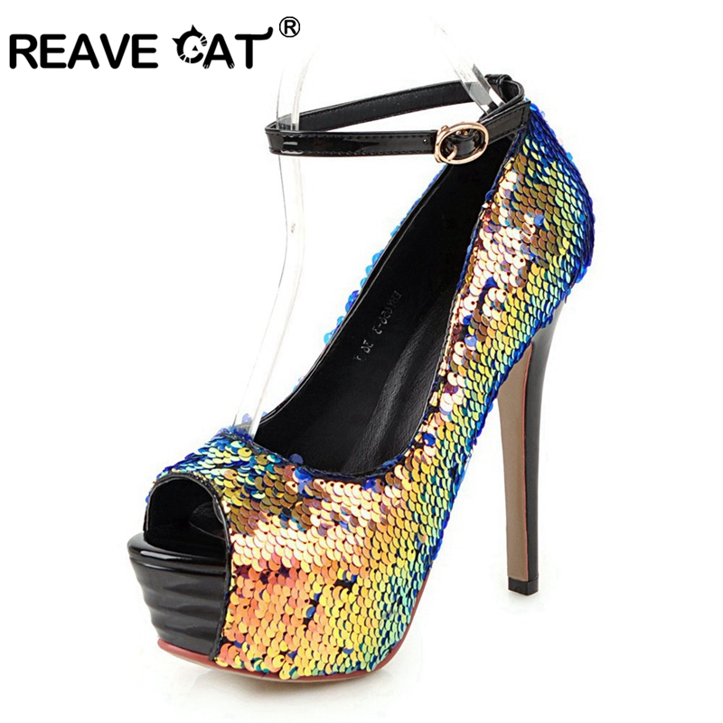 REAVE CAT Shoes woman High heels Ladies pumps Peep toe Sequined cloth Glitter Buckle Platform Thin