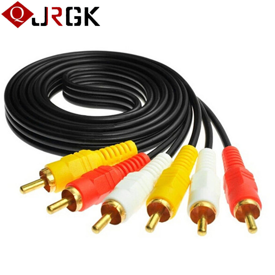 JRGK 3 RCA to RCA Audio Video Cable Male To Male 3RCA To 3RCA AV Cables Cord Wire For Hi-Fi Video DVD CD Player Cabo Converter