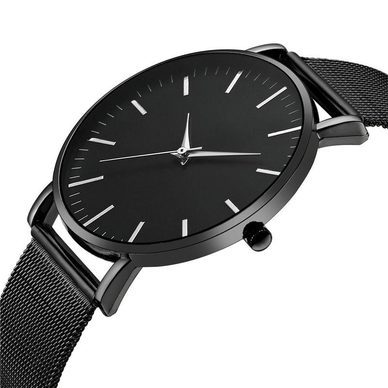 Top Men Watch No Logo Ctpor Brand Design Male Stainless Steel Watchband Black Quartz Clock Fashion Gold Man Wrist Watches FD1298