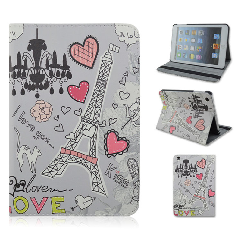 PU Material Support Design Card Holder Protective Cover Case of Heart-shaped Pattern for iPad mini 1 mini 2 mini 3