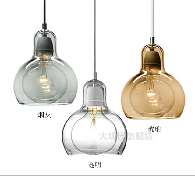US $44.99 25% di SCONTO|Nordic Brevi Personalizzati Grandi Lampadina  lampada a Sospensione In Vetro Ambra Vetro Paralume a Sospensione Lampade  ...