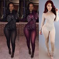 sexy Jumpsuit 2017 New Arrival Black Beading Long Sleeve Sexy Lace See Through Bodycon Women Party Bandage Jumpsuit kk503
