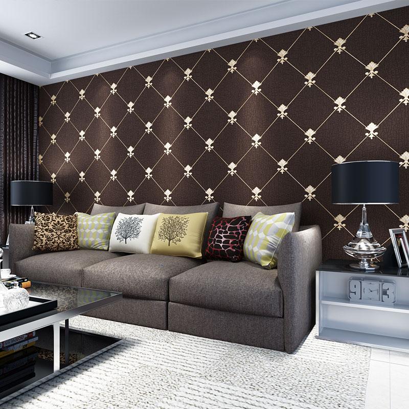 Suede TV Backdrop Wallpaper Embossed Diamond Lattice Thickened Modern Minimalist Living Room Bedroom Luxury Wallpaper