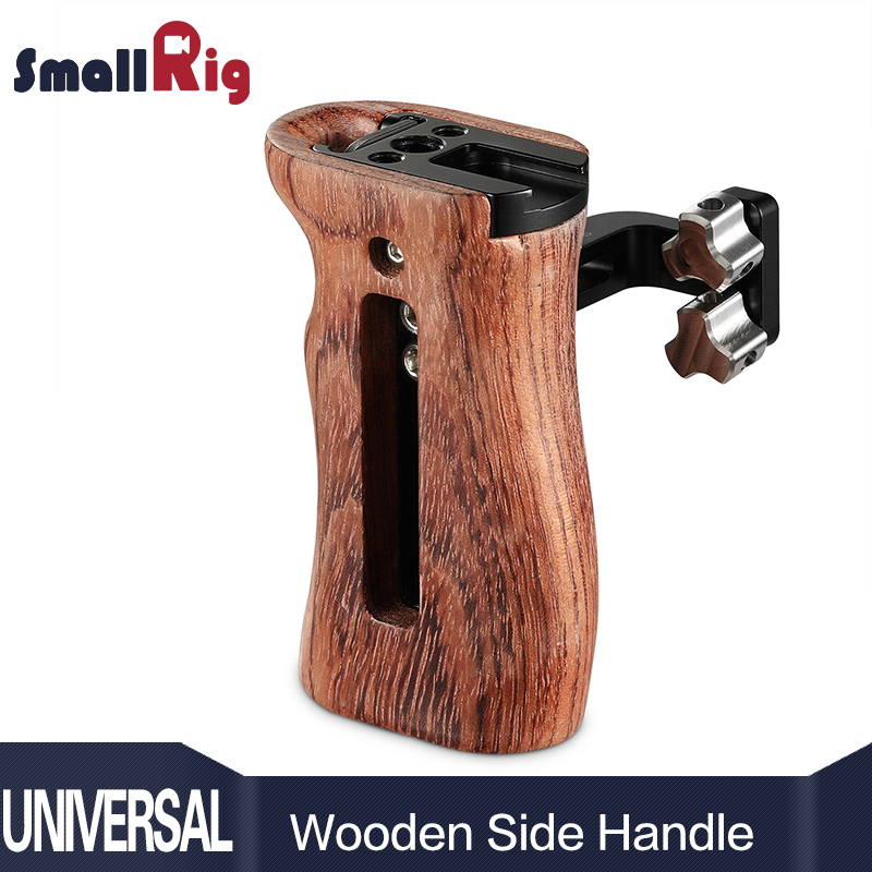 SmallRig Adjustable DSLR Wooden Camera Handle Universal Side Handle Grip W Cold Shoe Mount for Microphone