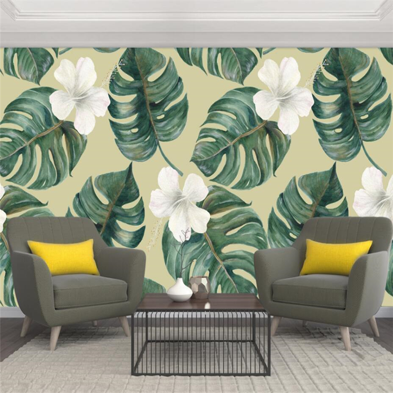 Beibehang Nordic monstera floral hand painted TV sofa wall custom large mural green silk cloth wallpaper papel de parede in Wallpapers from Home Improvement