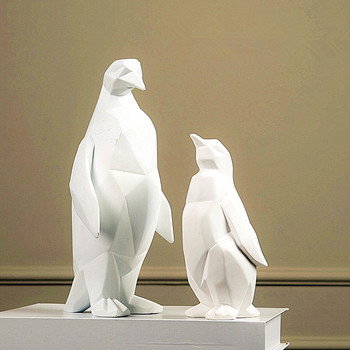 Animals Simulation White Penguin Statue Craftwork Show Window Decoration Gift Purely Manual European Style L2778