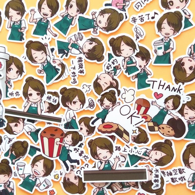 40pcs Creative Cute Kawaii Self-made Industrious Girls Scrapbooking Diary /decorative Stickers/DIY Craft Photo Albums