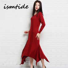 5943d5e52a88 Maxi Dresses Long Women Knitted Cashmere Sweater Pullovers O Neck Sexy  Female Dresses Asymmetrical Hem Fashion