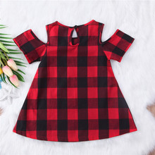 Plaid Cotton Cold Shoulder Checked Dress 1-6 Yrs