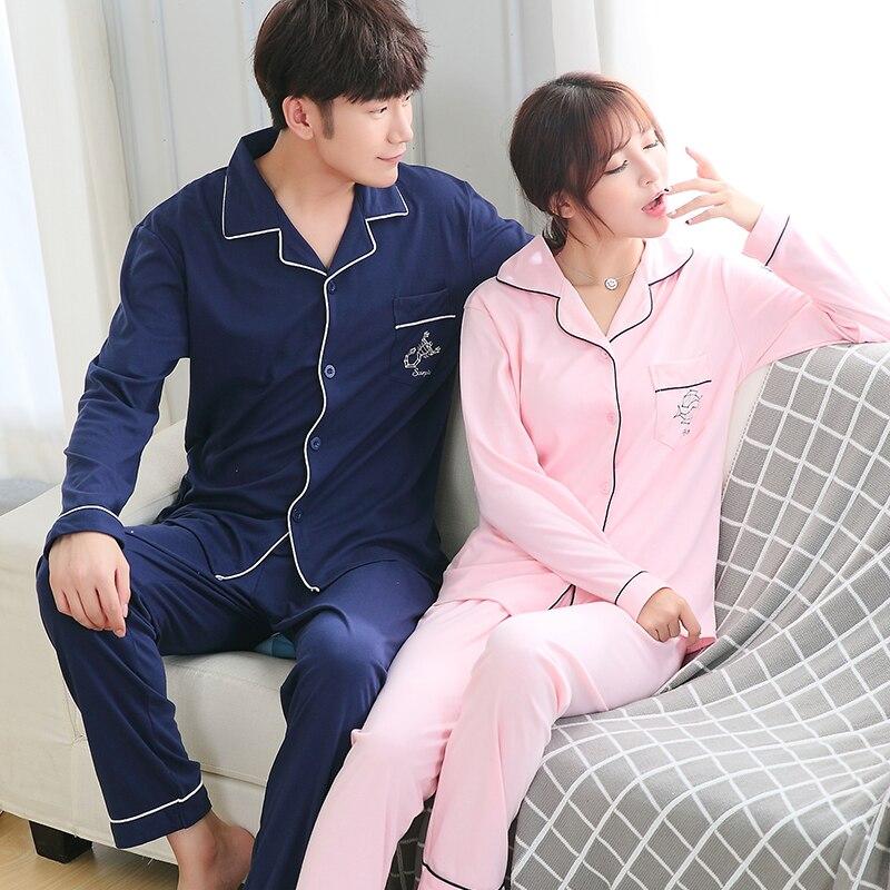 9d32b28447 Couple pajamas set 100% cotton pajamas plaid pajamas spring and autumn men  and women long sleeve sleepwear lover night suits