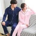 Pareja pijamas set 100% algodón pijama pijama a cuadros de primavera y otoño de los hombres y mujeres de manga larga de dormir amante de trajes de noche