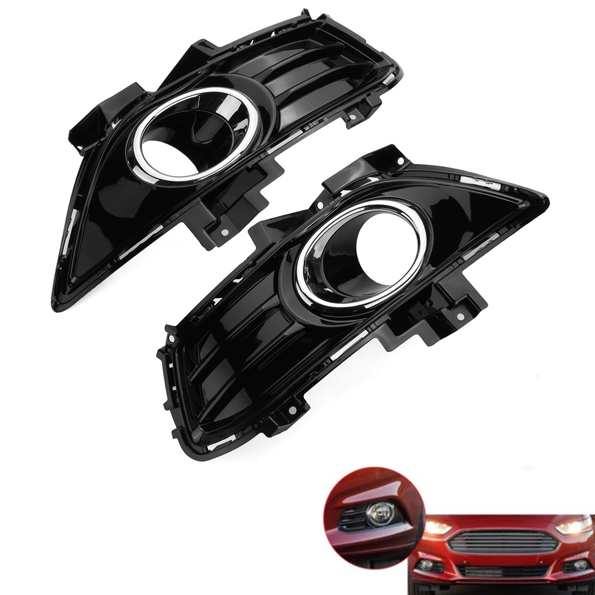 1Pair Car Fog Light Lamp Bumper Lower Fog Light Grille Cover Trim Grills ABS Fit for Ford for Fusion Mondeo 2013 2015