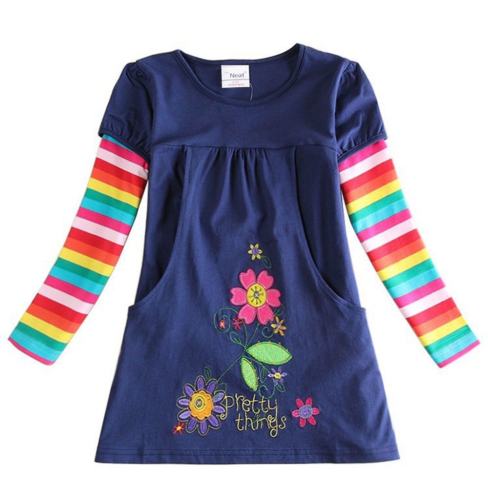 Girls Long Sleeve Dress Brand Flower Embroidered Pocket Dresses For Girls Dress Up Sweet A Word Girls Kids Dress H5802