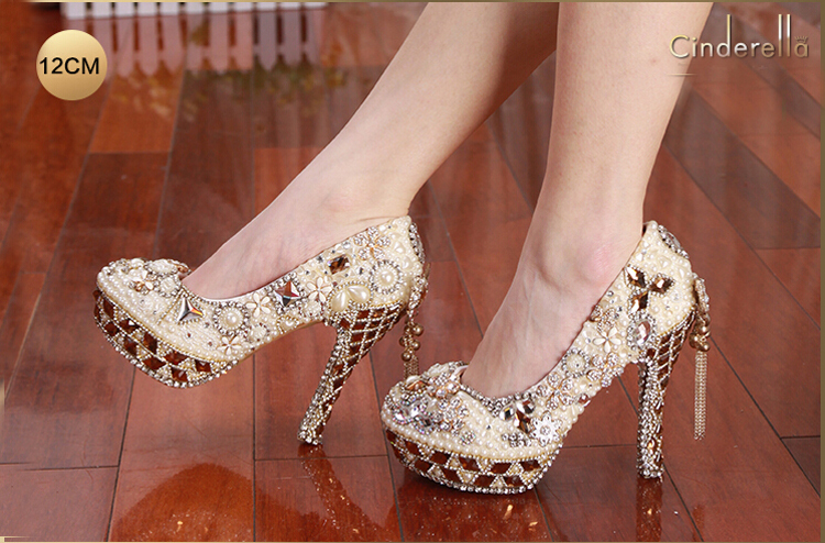 4feee002a623 Gorgeous High Heel Crystal Wedding Shoes Lovely Pearl Gem Ivory White Prom  Bridal Pumps Cinderella Crystal Shoes Size 34 43-in Women s Pumps from Shoes  on ...