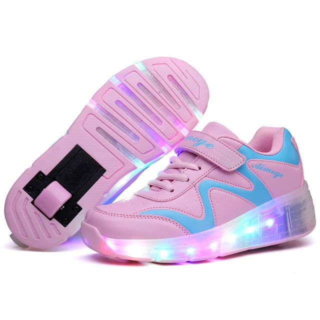 2017 Adultos Crianças Sapatos Sapatos Com Dois Patins de Rodas Caçoa As Sapatilhas Para Meninos Das Meninas sapatos zapatillas con ruedas
