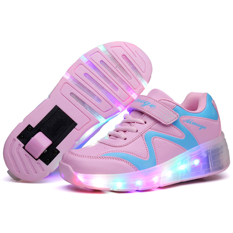 ФОТО 2017 Adults Children Shoes Shoes With Two Wheels Kids Sneakers Roller Skates For Boys Girls shoes zapatillas con ruedas