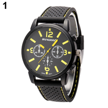 Men's Fashion Quartz Analog Silicone Band Stainless Steel Sports Wrist Watch  21S2 8JV3