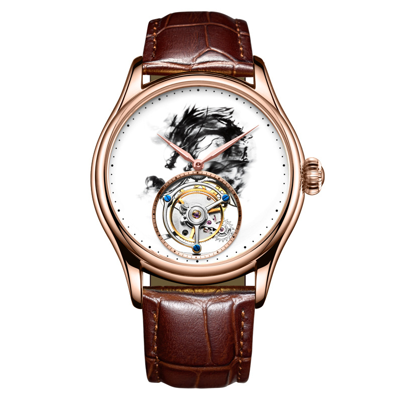 Brand Men Watches 24K Gold Enamel Automatic Tourbillon Leather Mens Mechanical Watch Retro Wristwatch Relojes Hombre Day GiftBrand Men Watches 24K Gold Enamel Automatic Tourbillon Leather Mens Mechanical Watch Retro Wristwatch Relojes Hombre Day Gift
