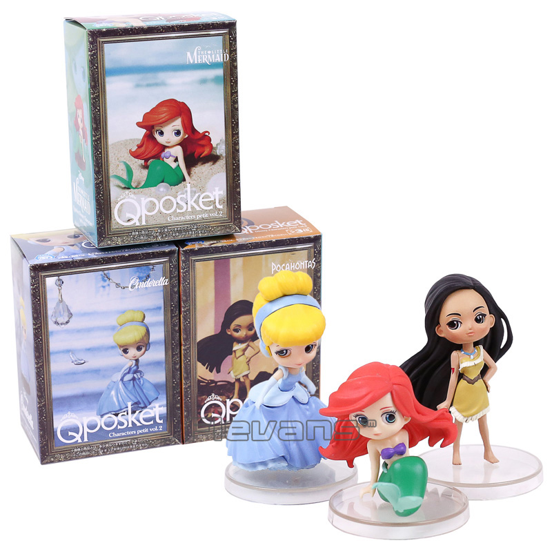 Q Posket Characters The Little Mermaid Ariel Cinderella Pocahontas PVC Figures Toys Princess Dolls Gifts for Girls 3pcs/set 12pcs set children kids toys gift mini figures toys little pet animal cat dog lps action figures