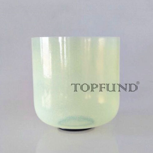 TOPFUND Alchemy Gem Olivine Fusion B Crown Chakra Clear Quartz Crystal Singing Bowl 7 With Free Mallet and O-Ring topfund hollow handle clear a third eye chakra indigo color crystal singing bowl 6