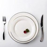 Creative Ceramic Bone China Platinum Gold Plating Household Tableware Steak Spaghetti Plate Dish Birthday Wedding Cake Saucer