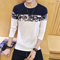 2017 Men Clothes Solid Color Long Sleeve T-Shirts print flower Men T-Shirt Spring Casual T Shirts M-5XL Free shipping