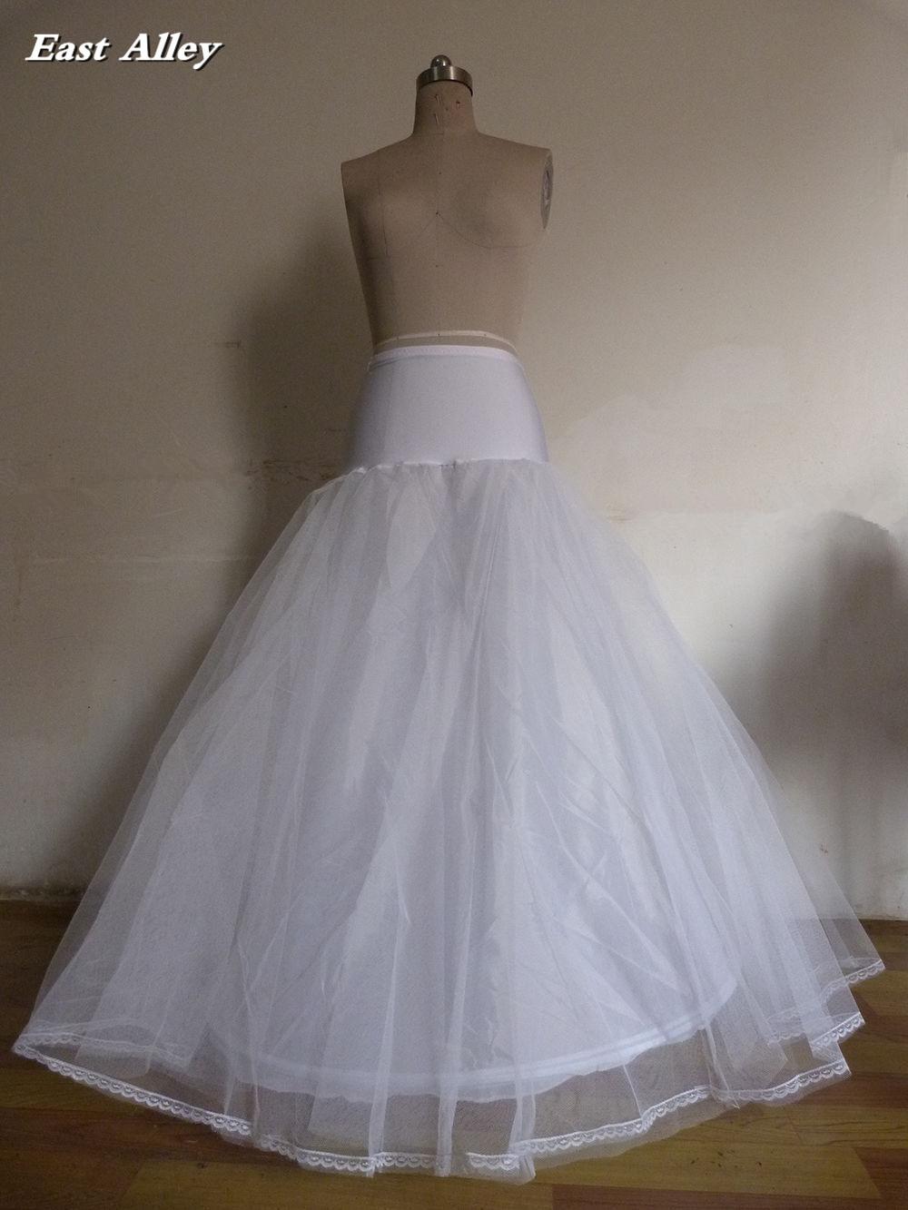 White / Ivory Plus Size Lycra 1 Hoop 2 Layer A-line Wedding Gown Petticoat Crinolines Slips Underskirt