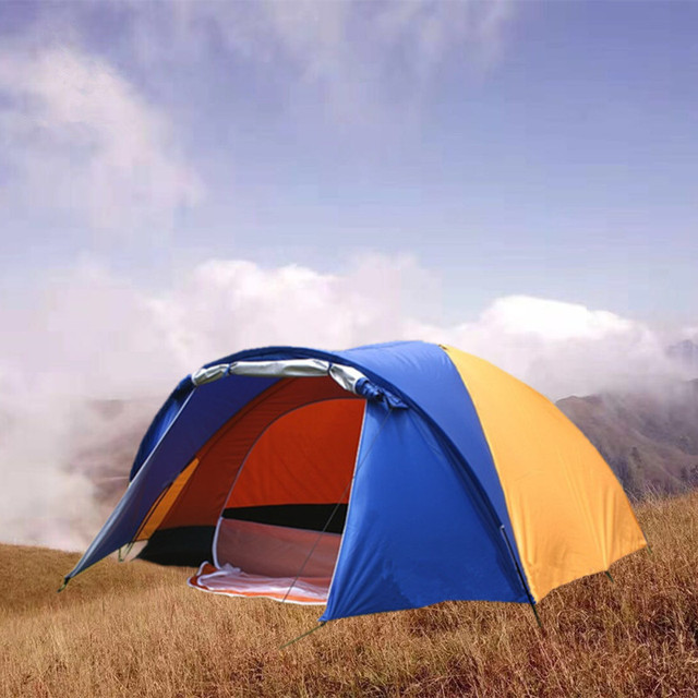 3-4 Person Big Outdoor Tent Separated Double Layer Waterproof Tent for Camping Hiking Fishing Hunting (80+240)*210*140cm 2.5Kg