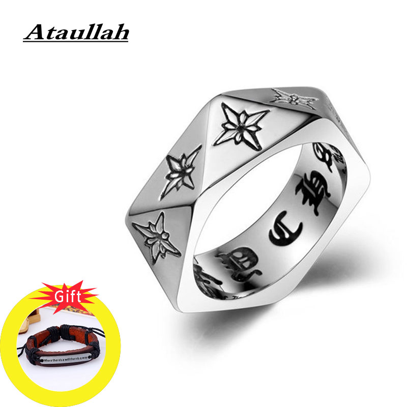 Ataullah Gothic Pentagon Ring Male Domineering Exaggeration Titanium Steel Punk Rock Finger Jewelry for man RW035