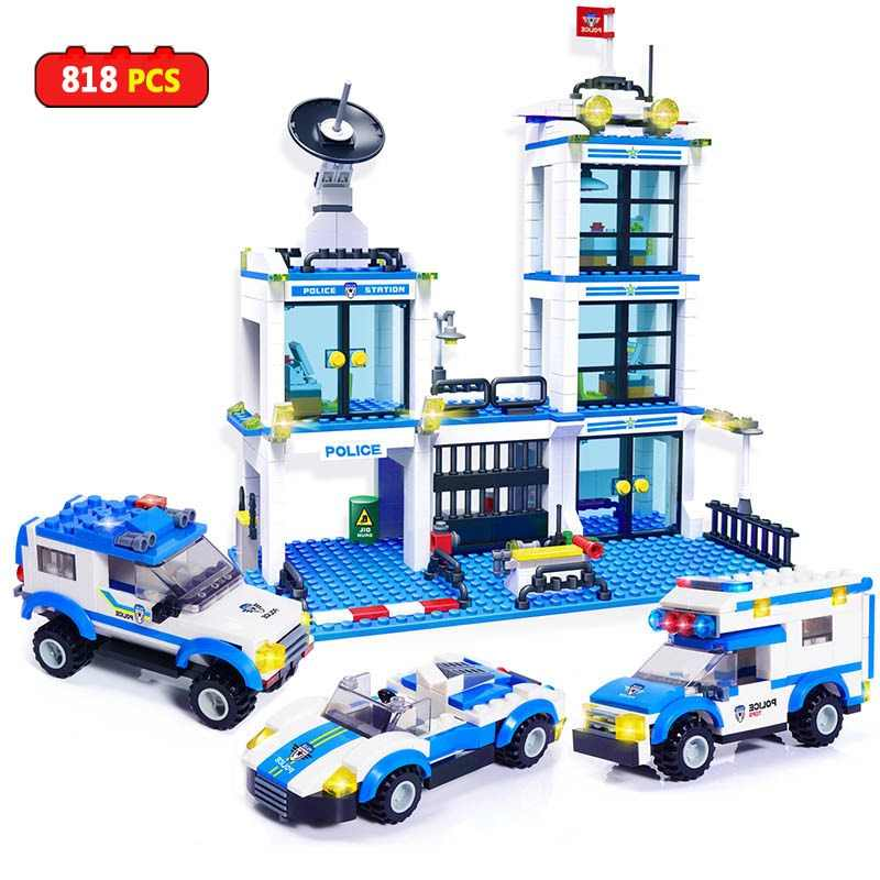818pcs City Police Station SWAT Building Blocks Compatible LegoING Boys Friends Bricks Figures Kids Toys for Children Adult GB27