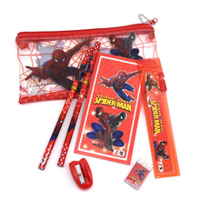 1 set kawaii pencil case for children spiderman sticker school supplies cute korean Drawing Toys stationery