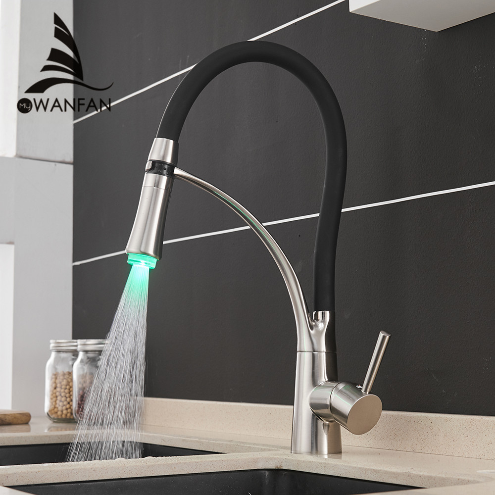 LED Kitchen Faucets With Rubber Brushed Nickel Mixer Faucet For Kitchen Single Handle Pull Down Deck Mounted Crane For Sink 7660