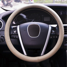 38CM cowhide Steering-wheel Covers for Mitsubishi asx I200 Galant GRANDIS Audi B5 allraod Avant TT Car-styling Auto Accessories(China)