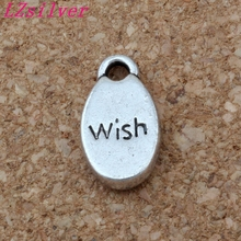 100Pc Antique Silver Alloy Single-sided  Wish Charms DIY Jewelry 8.5 x 15.5mm A-161