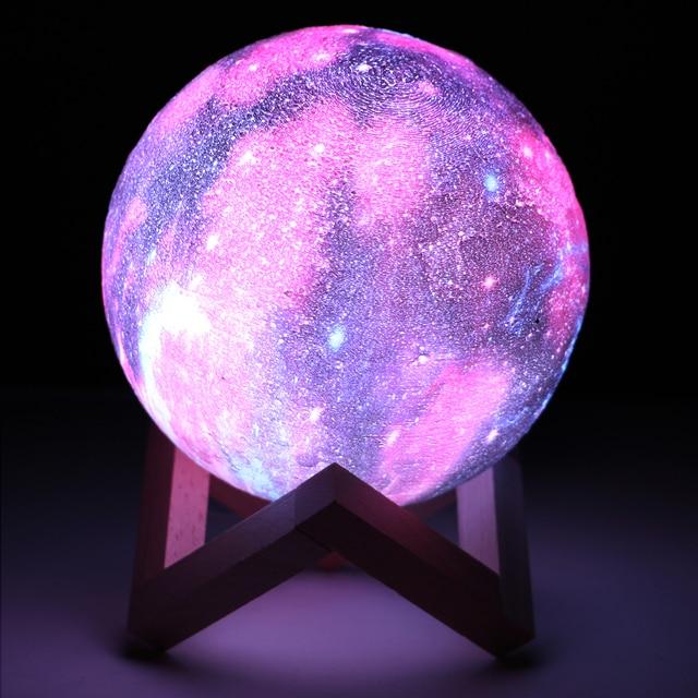 Coquimbo 16 色 3D 印刷ムーンランプとリモコン星空銀河に内蔵された充電式バッテリーの夜ランプ