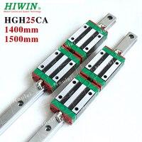 HGR25 ЧПУ линейные направляющие HIWIN вагонов и шлепанцы блоки HGH25CA 25 мм HGR 25 R направляющие комплект HGH25 1400 мм 1500 мм