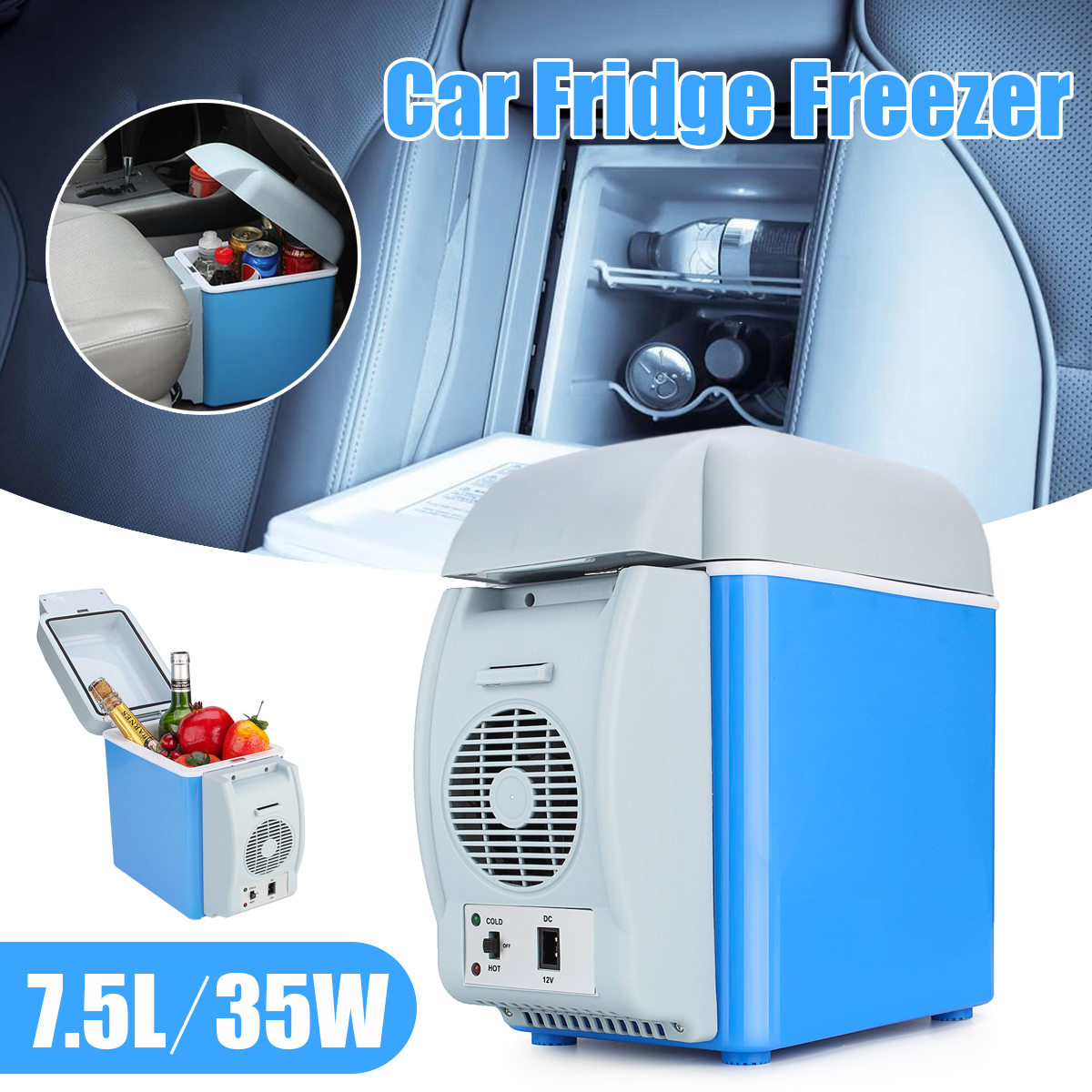 New 12V 7.5L 35W Mini Portable Car Refrigerator Cooler Freezer Car Fridge Freezer Cooler Warmer 2 Modes Box Fridge Travel Boat 60l lpg gas refrigerator fridge mini portable propane electric ac110v 220v dc12v reversible door caravan cooler for car rv boat