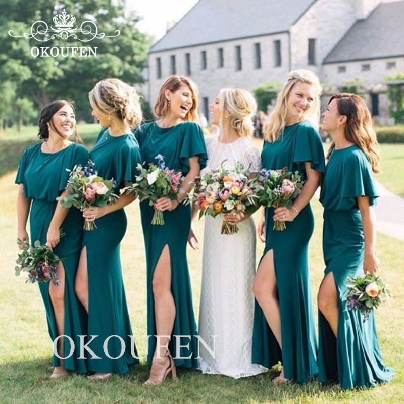 Stunning Mermaid Side Split Bridesmaid Dresses With Ruffles Short Sleeves 2020 Women Long Formal Dress Wedding Party Gown(China)